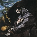 El Greco (1541-1614)  St Francis Praying  Oil on canvas, 1580-1590  45 5/8 x 40 1/8 inches (116 x 102 cm)  Joslyn Art Museum, Omaha, Nebraska, USA